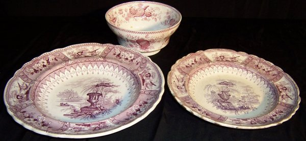 8: (3) Early transfer pieces (1 bowl, 2 plates)