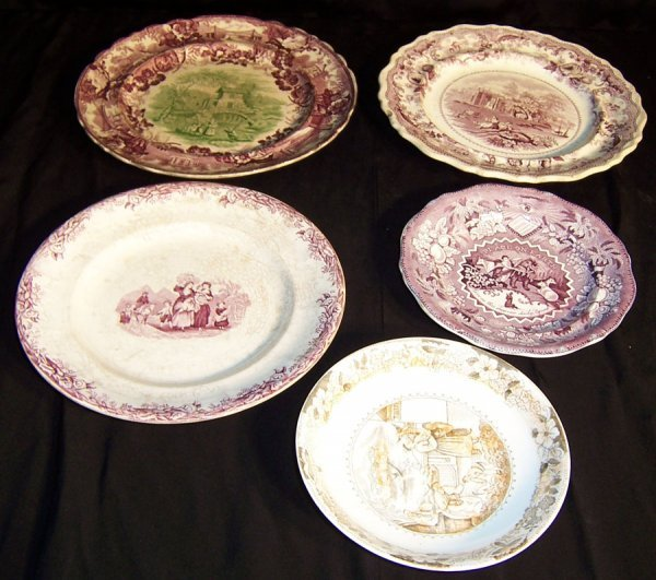 10: (5) Pieces early transfer plates and bowls
