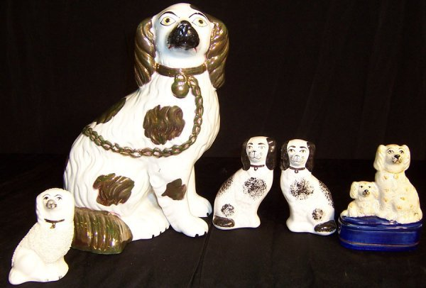 15: (5) Staffordshire dogs (four small, one large)
