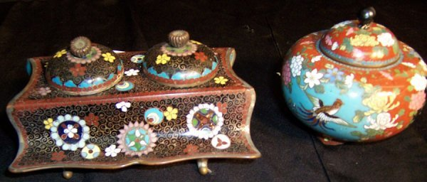 27: Cloisonne' ink well and incense covered box
