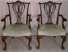 160 Pair of  mahogany Chippendale arm chairs