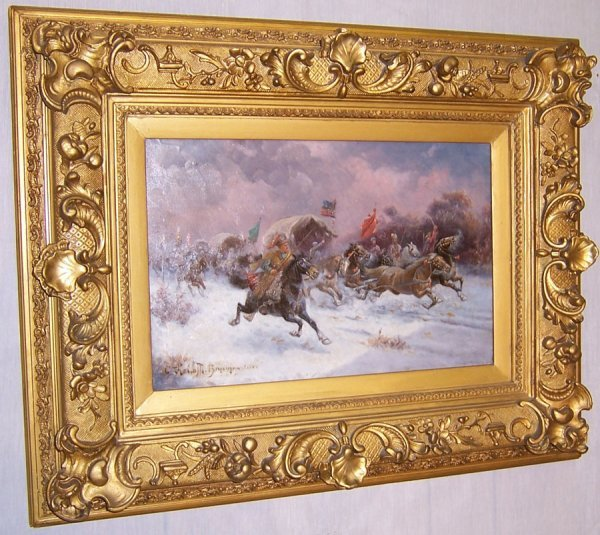 476: Battle scene Oil painting on wood panel, signed