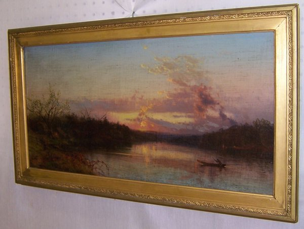 478: Oil on canvas - Lake scene camping scene, signed