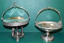 2 Silverplate Victorian Baskets