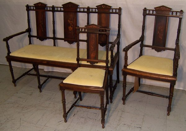 5: Three piece Edwardian inlaid parlor set