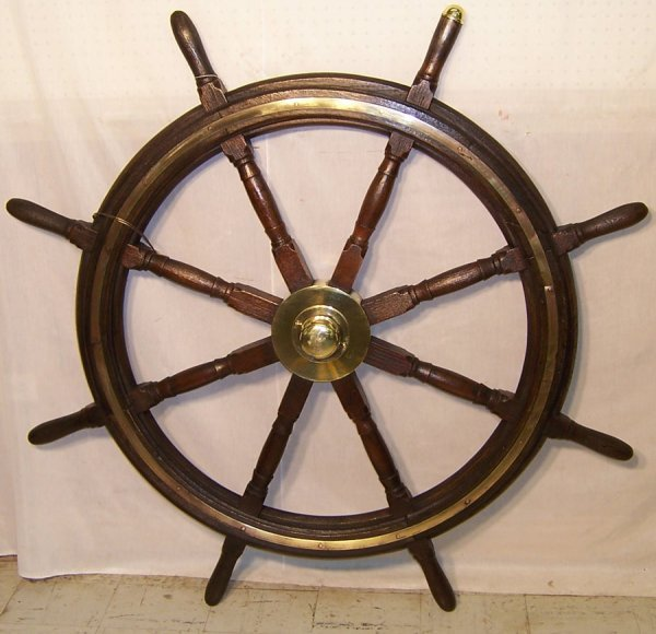 "6: Early ships wheel with brass trim (55"" round)"