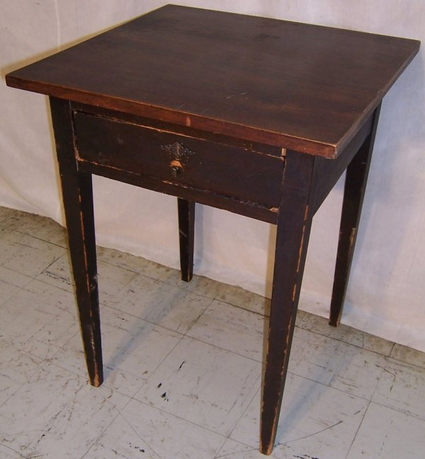 8: One drawer walnut top end table w/ tapered legs