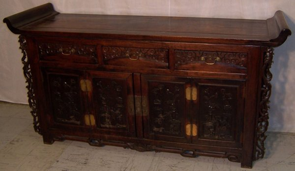 13: Chinese early scroll top cabinet