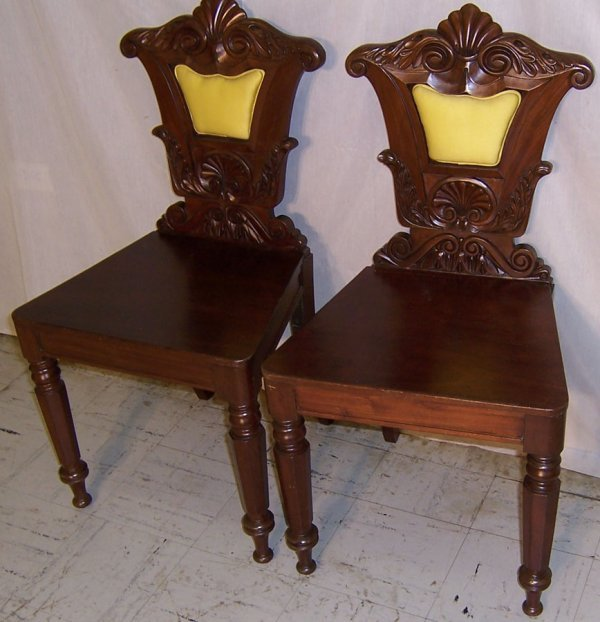 15: Pair mahogany carved back French parlor chairs