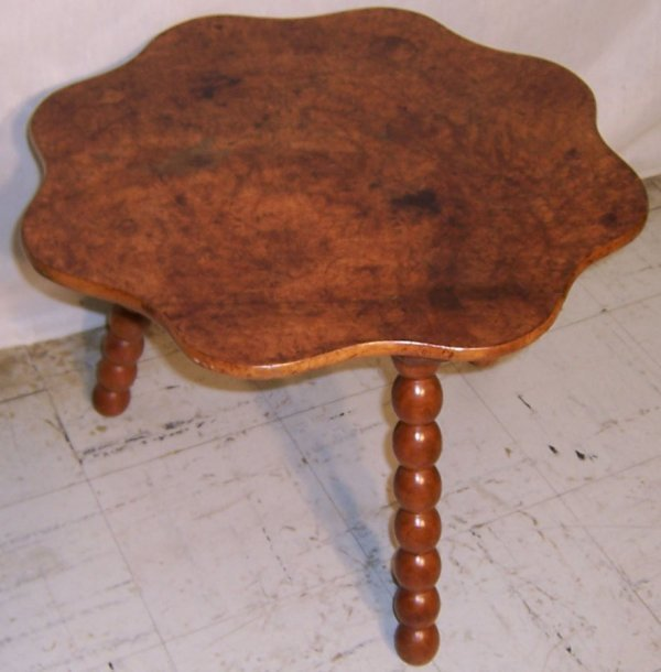 19: Burl walnut top bobbin-turn coffee table