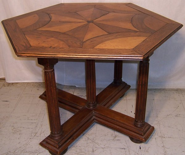 20: Octagon shape inlaid French breakfast table
