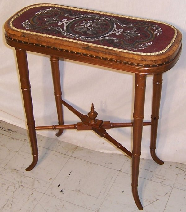 22: Early beadwork top faux bamboo base table