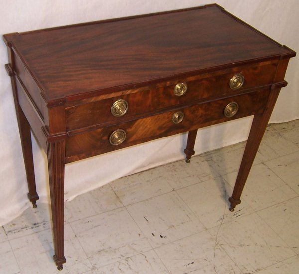 24: Two drawer 18th c. Hepplewhite mahogany table