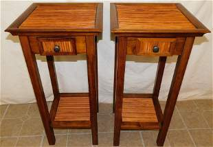 Pair Cherry & Bamboo One Drawer Stands