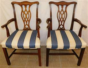 Pair Cherry Chippendale Arm Chairs