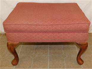 Mahogany Upholstered Queen Anne Ottoman