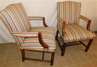Pair Mahogany Upholstered Arm Chairs
