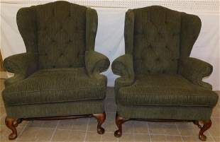 Pr Mah & Uph Queen Anne Wing Chairs by Broyhill