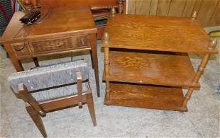 MCM Sewing Machine w Chair, Shelf, & 3 Tier Stand