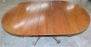 Antique Oak Dining Table with Claw Feet & 3 Leaves