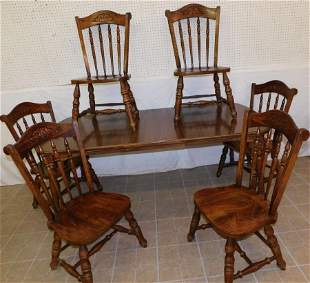 Chestnut Dining Table w 1 Leaf & 6 Chairs by VA House