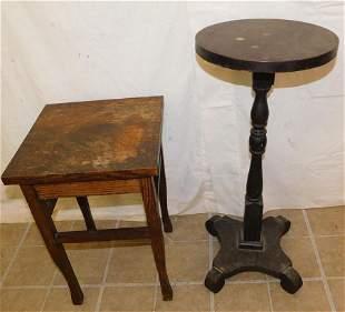 Antique Quartersawn Oak Stand & Mahogany Stand