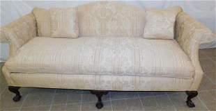 Mahogany & Uph Camel Back Sofa with Claw Feet