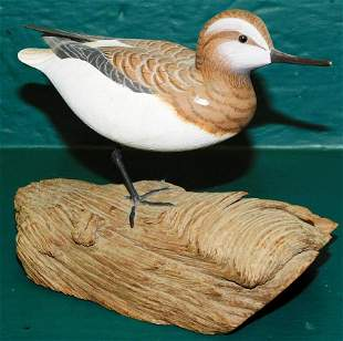 Carved Wood Shore Bird Signed C. Waterfield & Sons