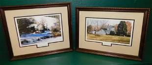2 Framed Pencil Signed Prints