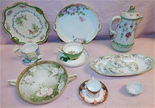 Lot of Hand Painted Porcelain Cups, Teapots, Trays