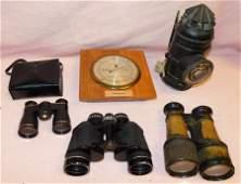 Lot of Vintage Binoculars, Ships Light, Barometer