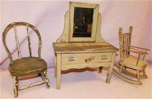 3 Pieces of Antique Doll Furniture