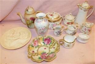 Misc. Lot -HP Bowl, Tea Pots, Vases & Bowls,etc.