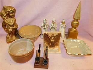 Wooden Finial, Pottery Bowl, Ceramic Figurines
