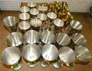 Lot of Pewter & Silverplate Goblets