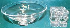 Signed Steuben Glass Bowl & Czech Ink Bottle