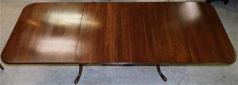 Cherry Two Pedestal Dining Table W/ 2 Leaves