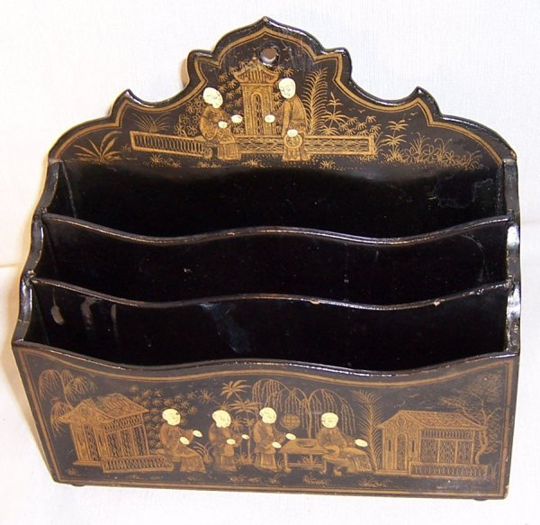 6: Chinoiserie black lacquered letter box