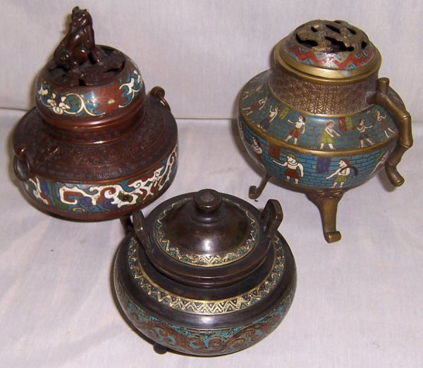 10: (3) Champleve' incense burners