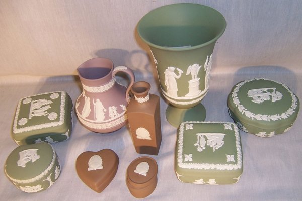 13: (9) Pieces Wedgwood (boxes, vases, pitcher)