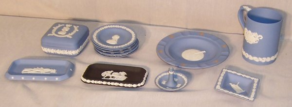 16: (12) Pieces blue and black Wedgwood