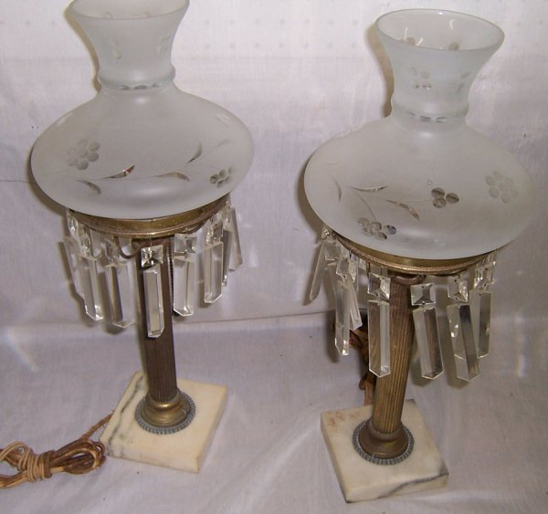 23: Pair of marble base frosted shade lamps