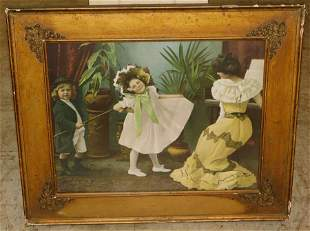 Victorian Style Print of 2 Girls & Woman Playing Piano
