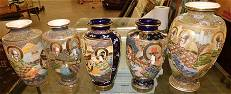 5 Satsuma Porcelain Vases, (All As Is)