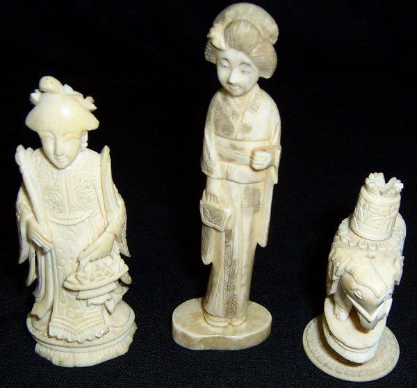 2: (3) Ivory figurines - elephant, lady, man