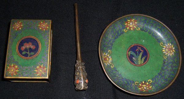 3: Three Early cloisonne' pieces