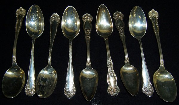 4: (9) Sterling silver spoons (7.73 troy oz.)