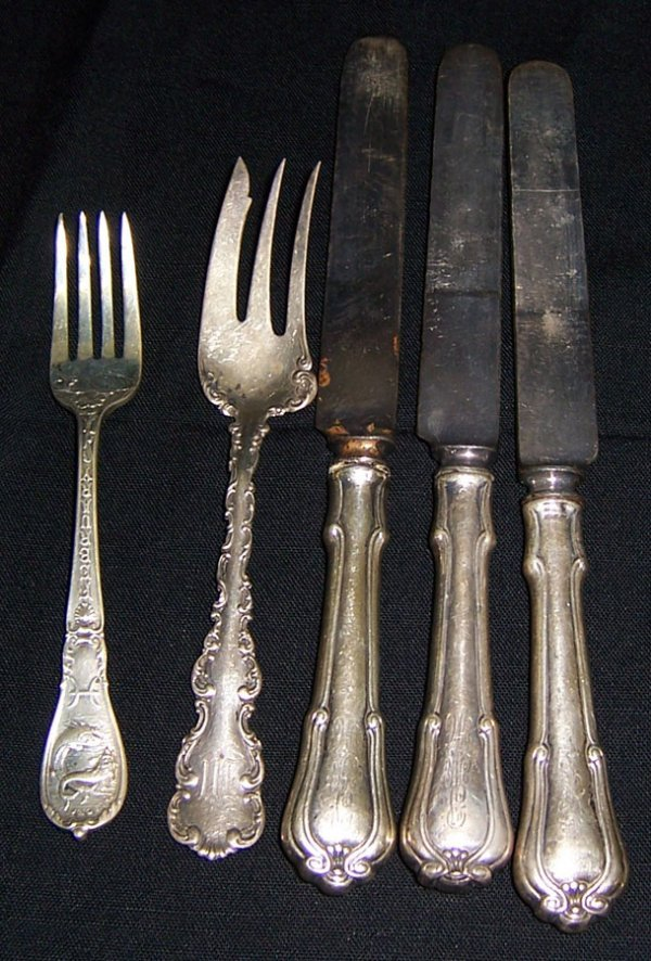 7: (3) Sterling handle knives and two forks