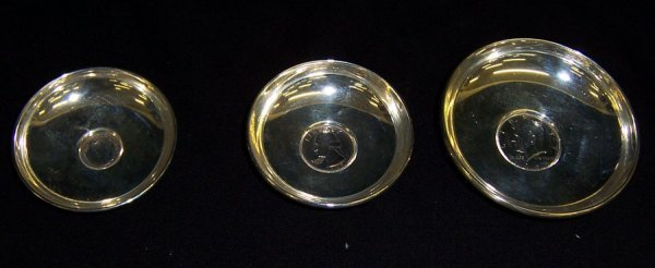9: (3) Sterling small trays with American coins