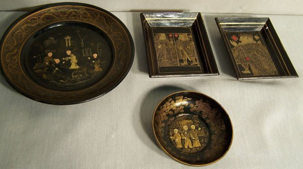 11: (4) Chinese lacquered and Chinoiserie pieces